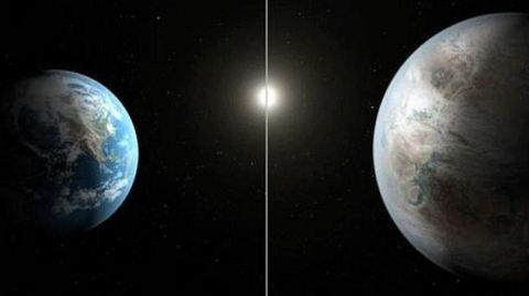 This image compares the size of earth with the size of Kepler 452b
