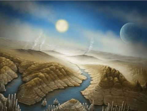 This artist's impressiona shows what the surface of kepler 452b could look like with active volcanoes and liquid water